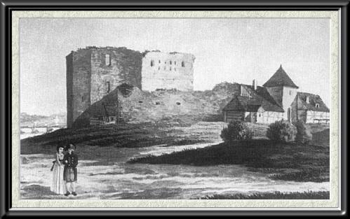 Widok Zamku Dybowskiego od strony płd.-zach. wg K. Albertiego z 1795 r.